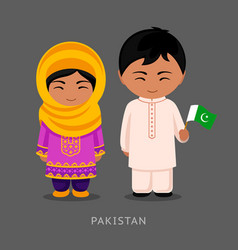 Pakistanis in national dress with a flag vector