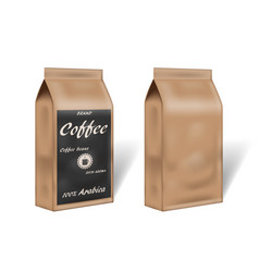 Paper arabica coffee package design mock up empty vector