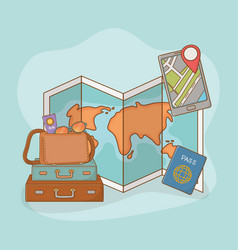 paper map guide with travel vacations items vector image