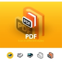 pdf icon in different style vector image