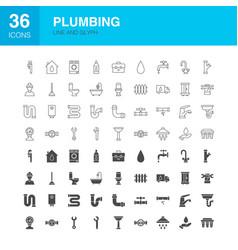 Plumbing line web glyph icons vector