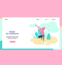 plus size young woman doing yoga asana on nature vector image