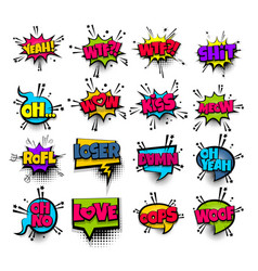 Pop art phrase comic text set vector