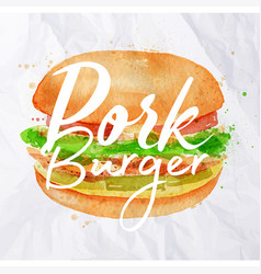 Pork burger watercolor vector