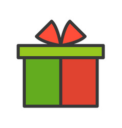 Present box merry christmas theme set filled vector