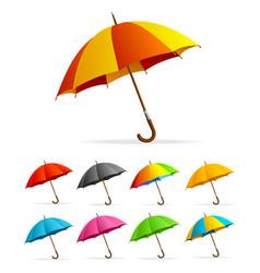 Realistic detailed 3d color umbrella set vector
