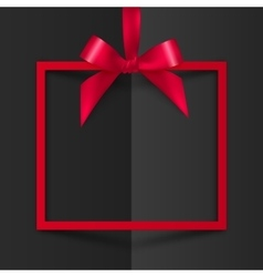 Red gift box frame with silky bow and ribbon on vector image