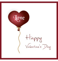 Red helium balloon heart shape valentine card vector