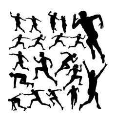 relay race runner silhouettes vector image