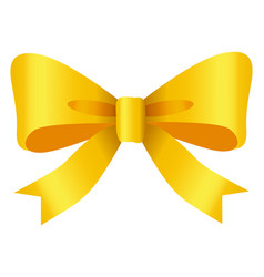 ribbon bow decoration yellow tape in knot vector image