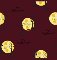 scary night halloween pattern on dark red vector image