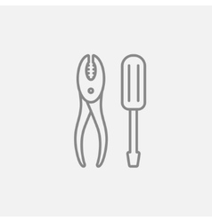 Screwdriver with pliers line icon vector image
