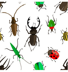 seamless pattern with colorful insects vector image