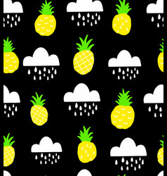 seamless pattern with doodle pineapples on the vector image