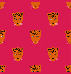 seamless pattern with face of leopard vector image