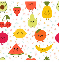 seamless pattern wiyh dancing fruits cute hand vector image