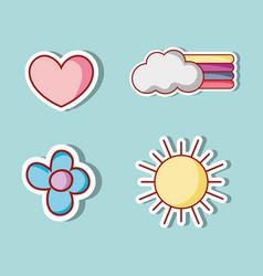 set cute fashion patches design vector image