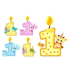 Set Happy First Birthday Candle and Animals vector