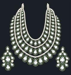 set monisto gold female necklaces vector image