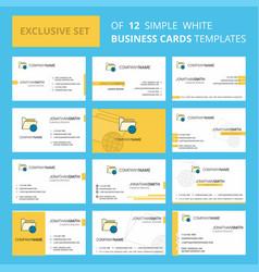 Set of 12 shared folder creative busienss card vector