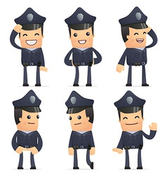 Set of policeman character in different poses vector