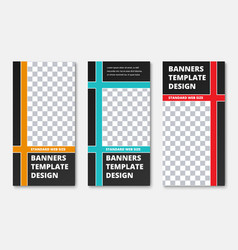 set of vertical black web banners with the vector image