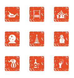 Shamanism icons set grunge style vector