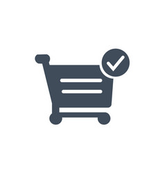 shopping cart and checkmark icon for web site vector image