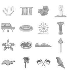 Singapore travel icons set monochrome style vector