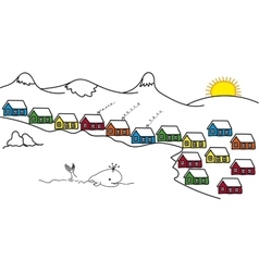 Sketch Iceland and colored houses floating whale vector