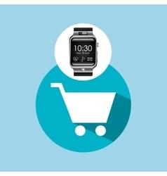 Smart watch on hand- shopping cart vector