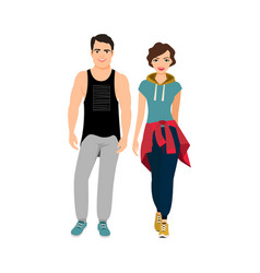 sports handsome happy couple vector image