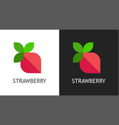 strawberry logo icon on black and white vector image