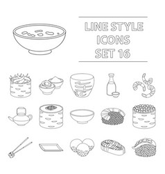 sushi set icons in outline style big collection vector image