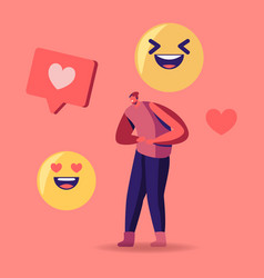 Tiny male character in teen clothes laughing with vector