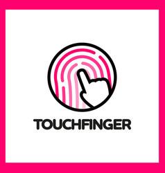 touch fingerprint app logo vector image