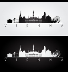 Vienna skyline and landmarks silhouette vector