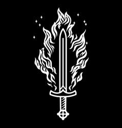 viking scandinavian design burning sword vector image