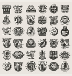 vintage monochrome beer designs big set vector image