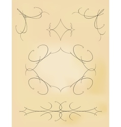 Vintage outlines swirls collection eps10 vector