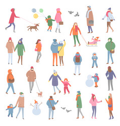 Winter and autumn warm clothes people walking vector