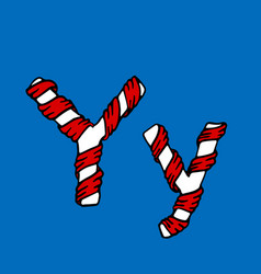 Wrapped in a ribbon letter y blue and red letter vector