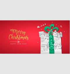 year paper cut gift winter city vector image