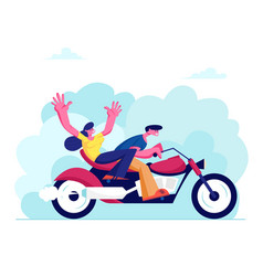 Young loving couple riding motorbike on nature vector