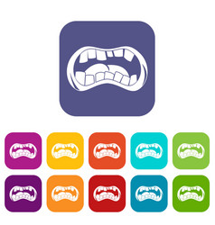 Zombie mouth icons set flat vector