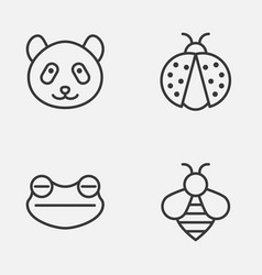 zoology icons set collection of bear bumblebee vector image