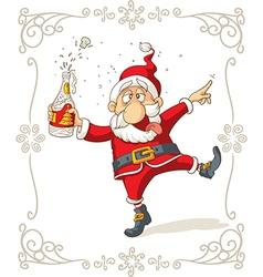 Drunk santa dancing cartoon vector