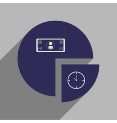 Flat web icon with long shadow time money chart vector image vector image