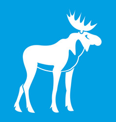 moose icon white vector image vector image
