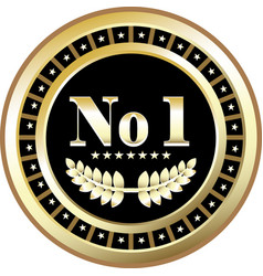 number one gold label vector image vector image